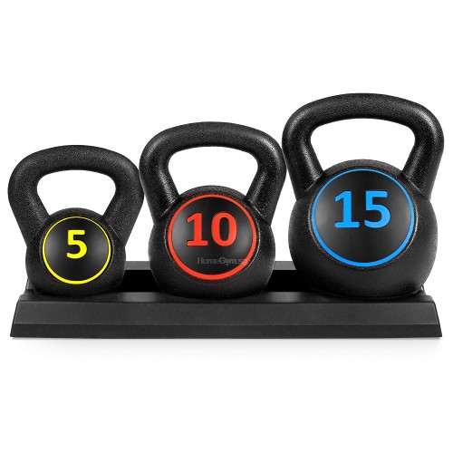 Plastic Kettlebell Set (5,10,15lbs) with base